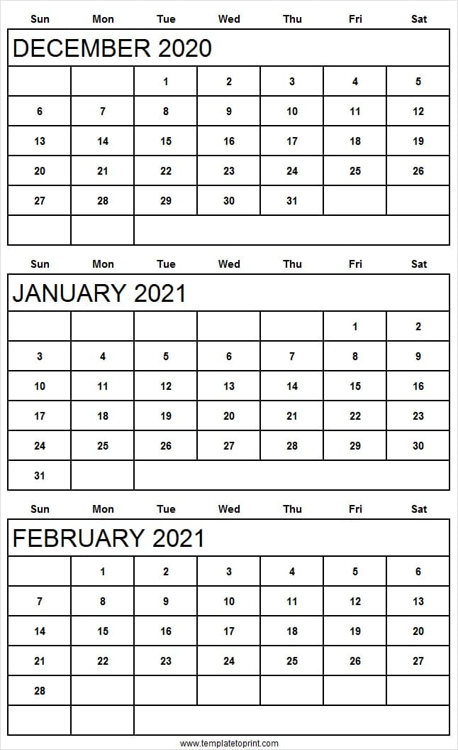 Three Month Calendar December 2020 To February 2021  Reddit throughout 2021 3 Month Monthly Printable Calendars