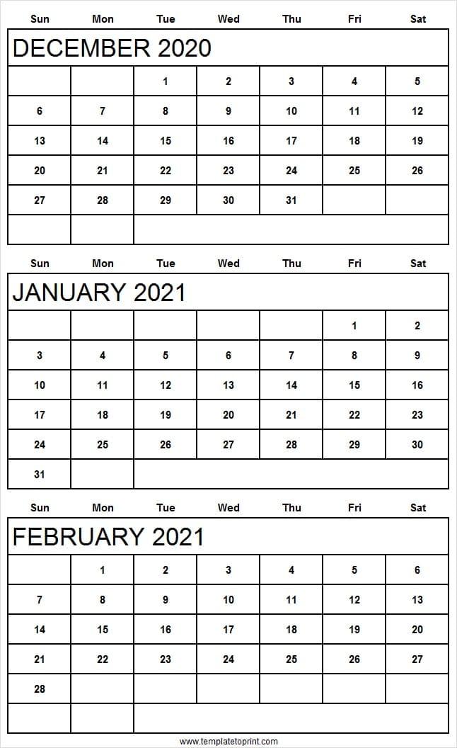 Three Month Calendar December 2020 To February 2021  Reddit with regard to Printable 3 Month Calendar 2021 Free