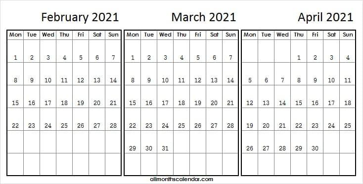 Three Month Calendar February To April 2021  Blank inside 3 Month Printed A3 Calendar 2021
