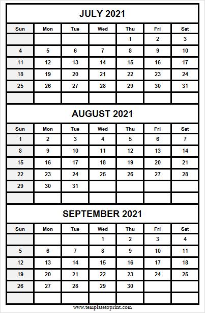 Three Month Jul To Sep 2021 Calendar  2021 Calendar Printable regarding 3 Month Printed A3 Calendar 2021