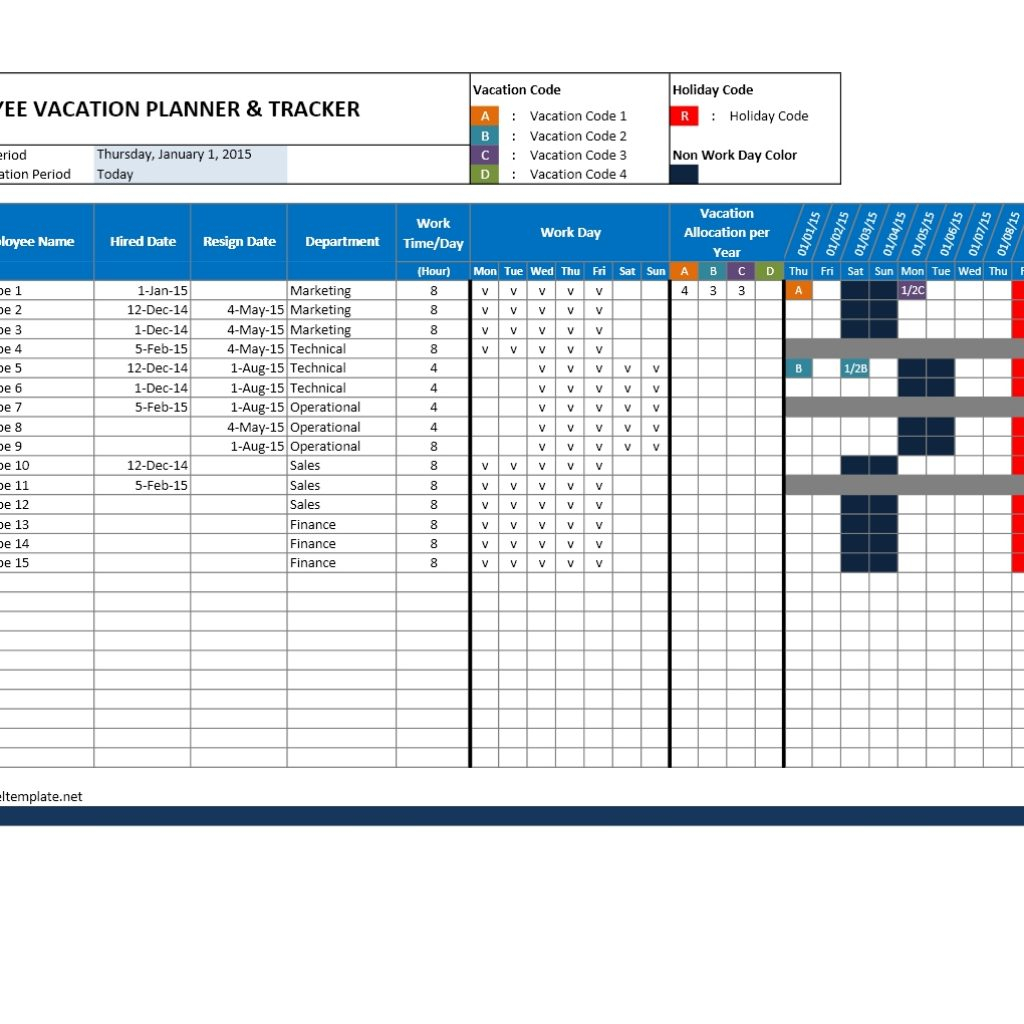 Vacation Schedule Spreadsheet Intended For Employee within Employee Vacation Calendar Excel