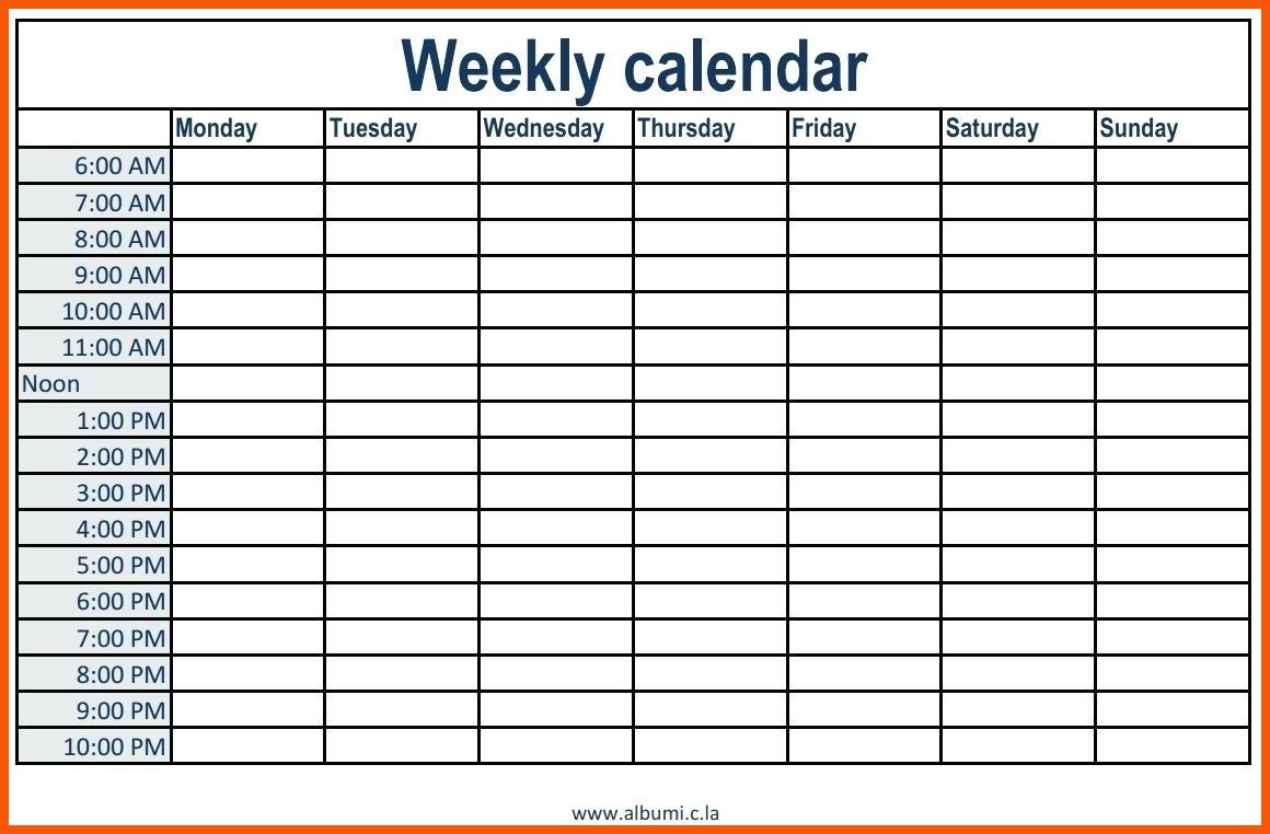 Week Calendar Hour Slots | Calendar Printables Free Templates with regard to Free Daily Calendar Template