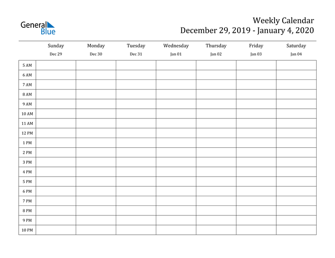 Weekly Calendar  December 29, 2019 To January 4, 2020 throughout Weekly Calendar With Time Slots Printable Free