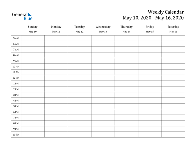 Weekly Calendar  May 10, 2020 To May 16, 2020  (Pdf with regard to Printable Calendar With Time Slots