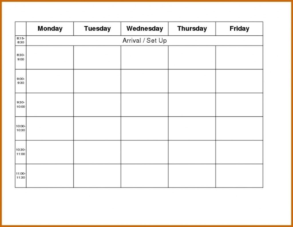 Weekly Calendar Template Monday To Friday | Example within Printable Monday Through Friday Calendar