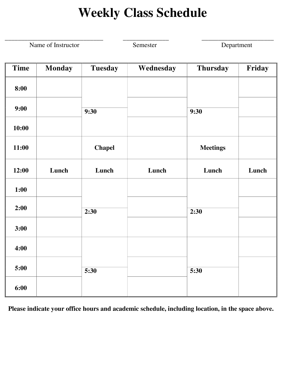 Weekly Class Schedule Template Download Printable Pdf throughout Weekly Class Schedule Template