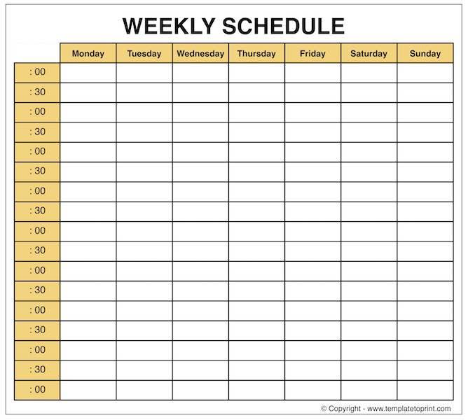 Weekly Planner  Blank Weekly Calendar Template With Time pertaining to Weekly Calendar With Time