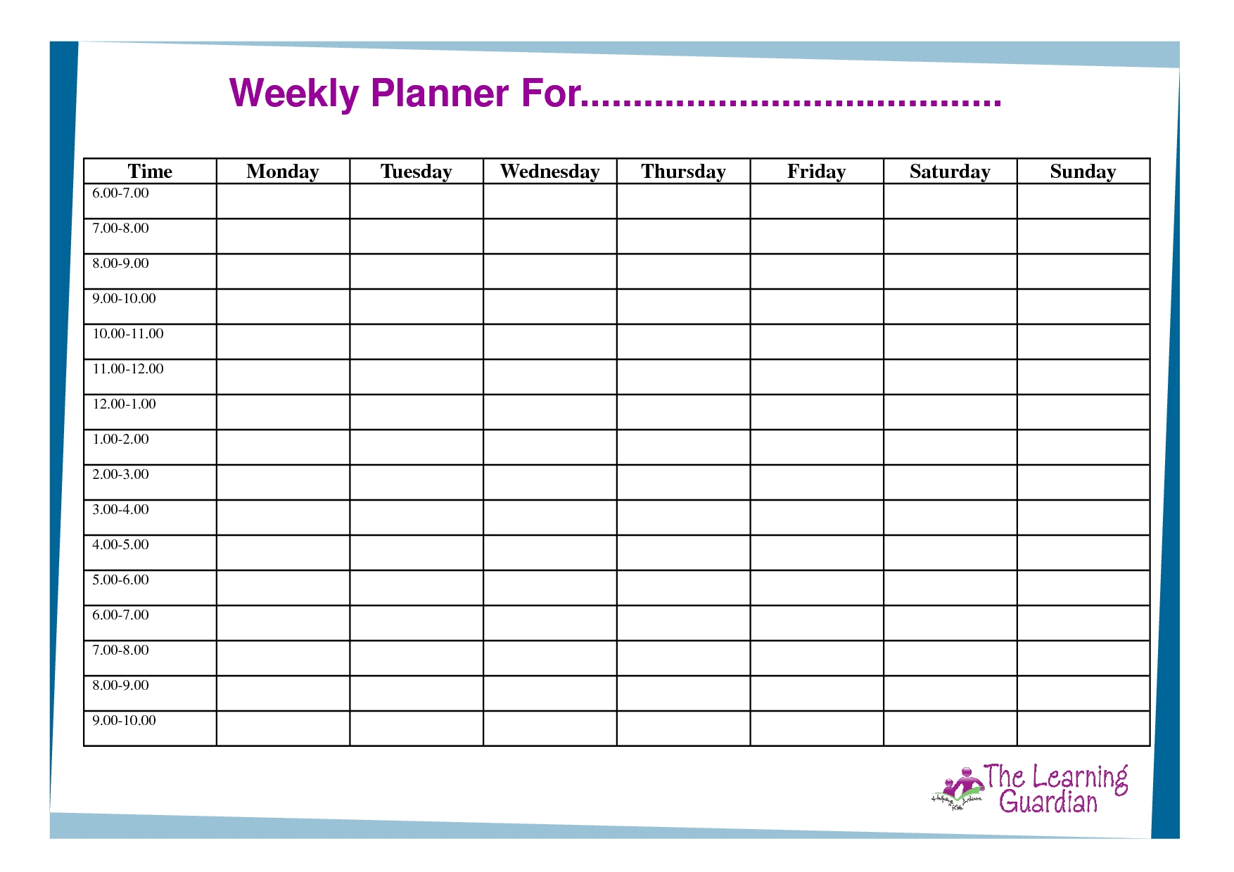 Weekly Planner With Time Slots Word Template  Calendar with Free Weekly Calendar Template With Time Slots