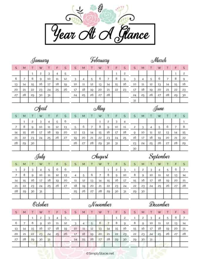 Yearly Calendar Free Printable with Blank Year At A Glance Calendar