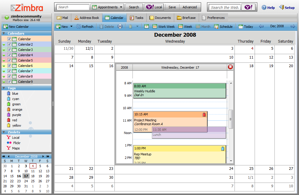 Zimbra Desktop Beta 5 + Sharing, Fisheye, Yahoo! (& Google regarding Google Calendar Alerts Vs Desktop Notifications