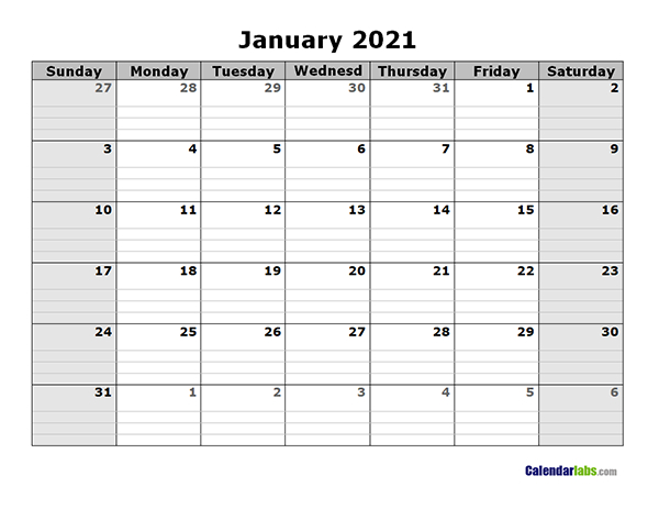 2021 Free Blank Calendar  Free Printable Templates intended for 2021 Lined Calendar Printable Excel