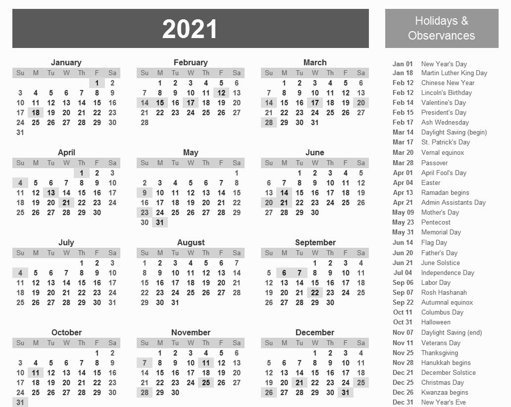 Geico Excel Federal Leave Calendar For 2021 | Calendar pertaining to 2021 Lined Calendar Printable Excel