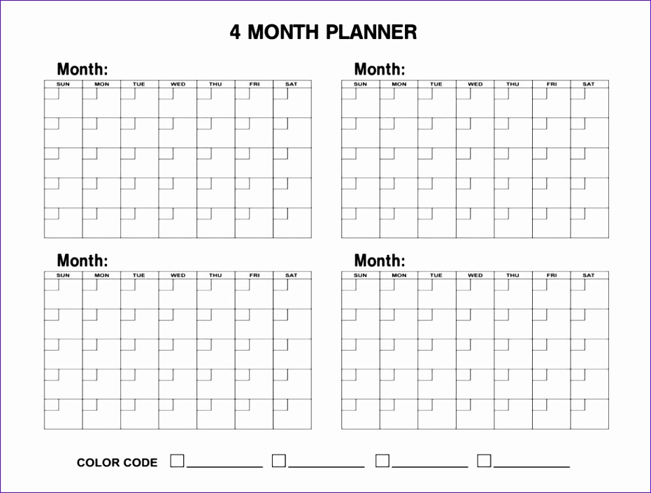 10 Excel Calendar Template 2013  Excel Templates  Excel pertaining to Printable 4 Month Calendar