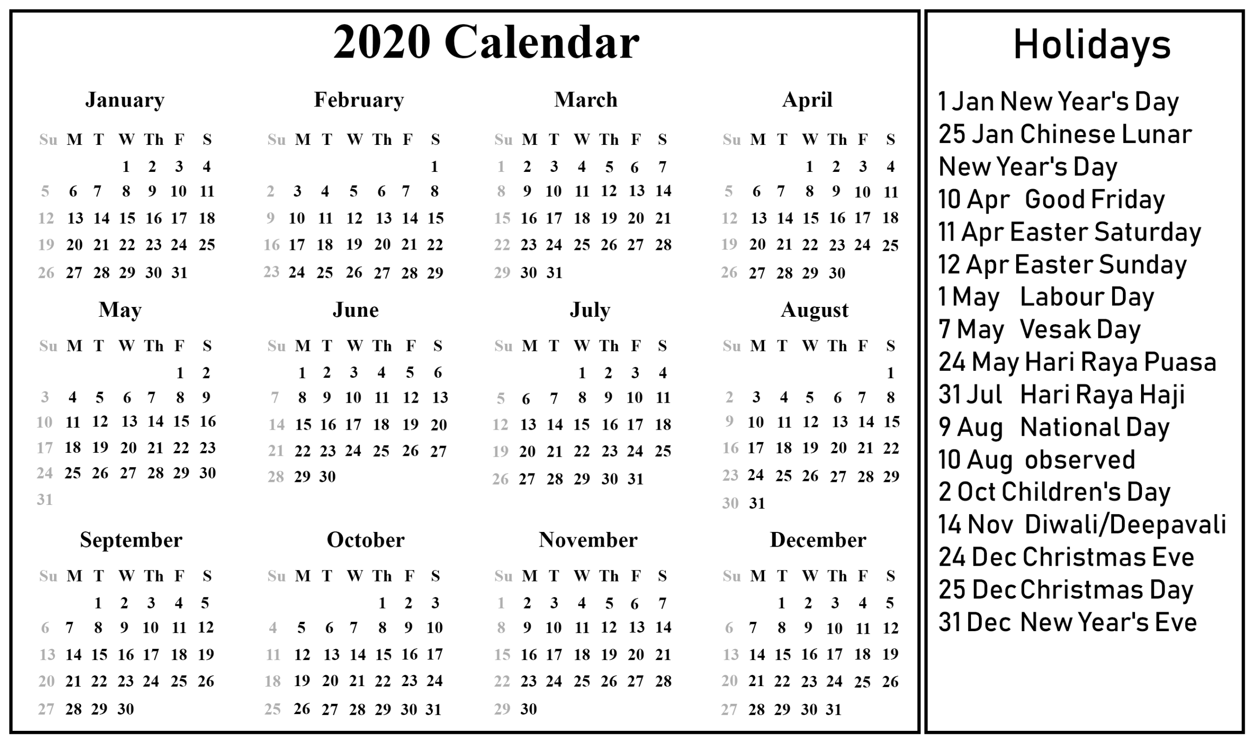 12 Month 2020 Printable Calendar Template With Holidays with Ocsb School Year Calendar
