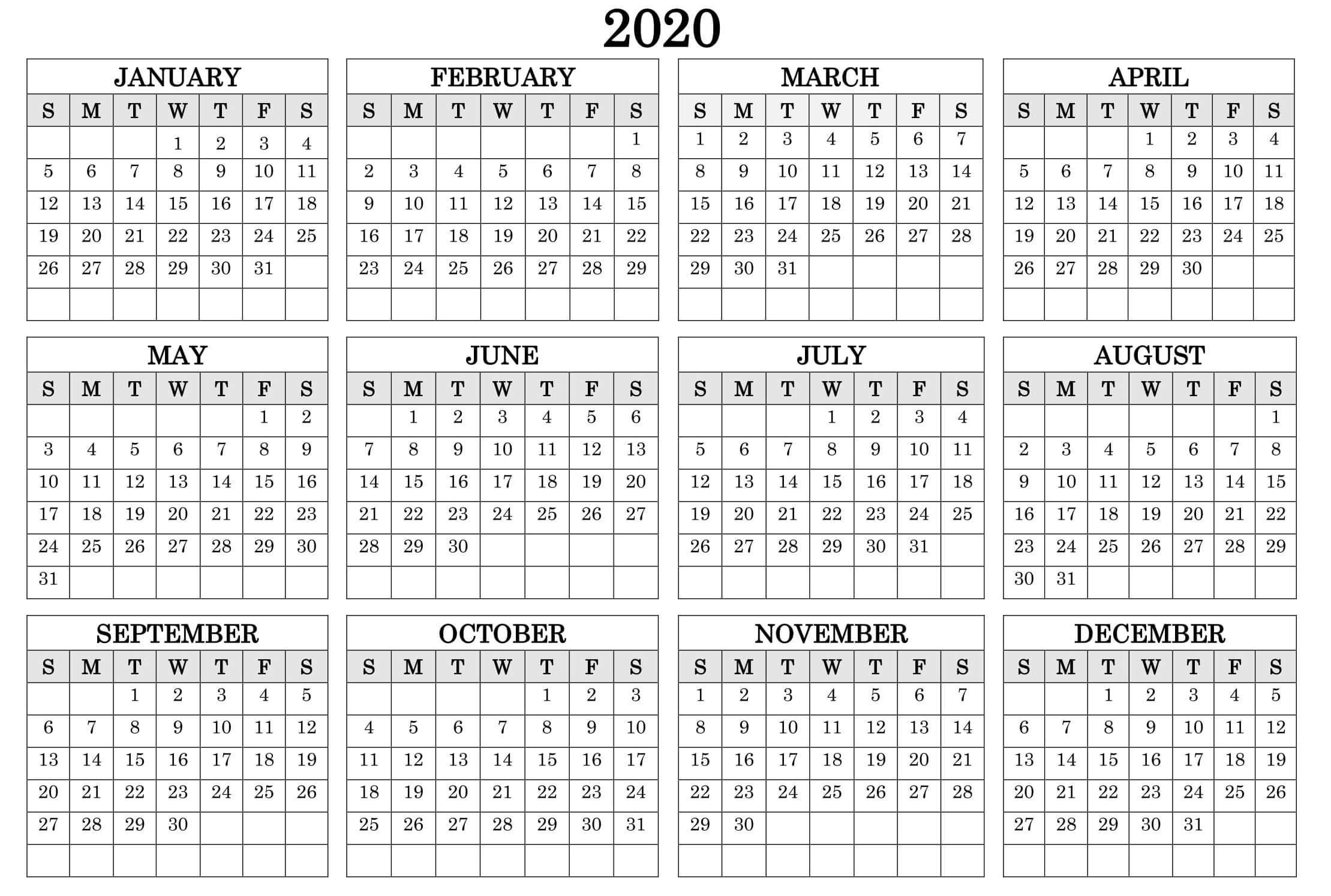 12 Month At A Glance Fill In Template Calendar   Calendar within Year At A Glance Calendar Template