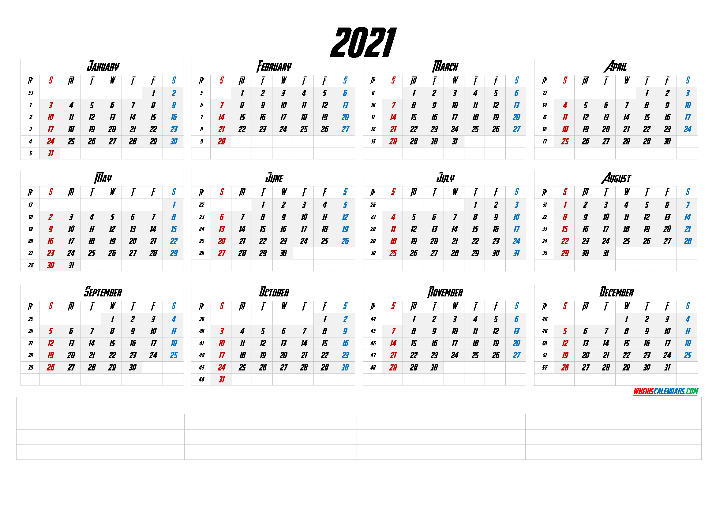 12 Month Calendar Printable 2021 (6 Templates) inside 2021 Writable Calendars By Month