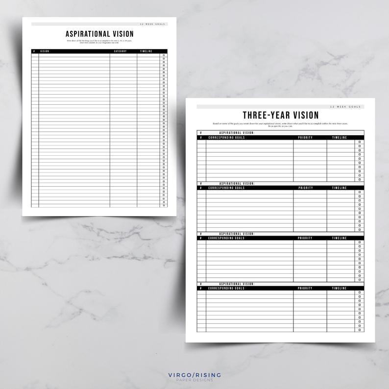 12 Week Goals Bundle Goal Planning Templates Goal Setting within 12 Week Planner Template