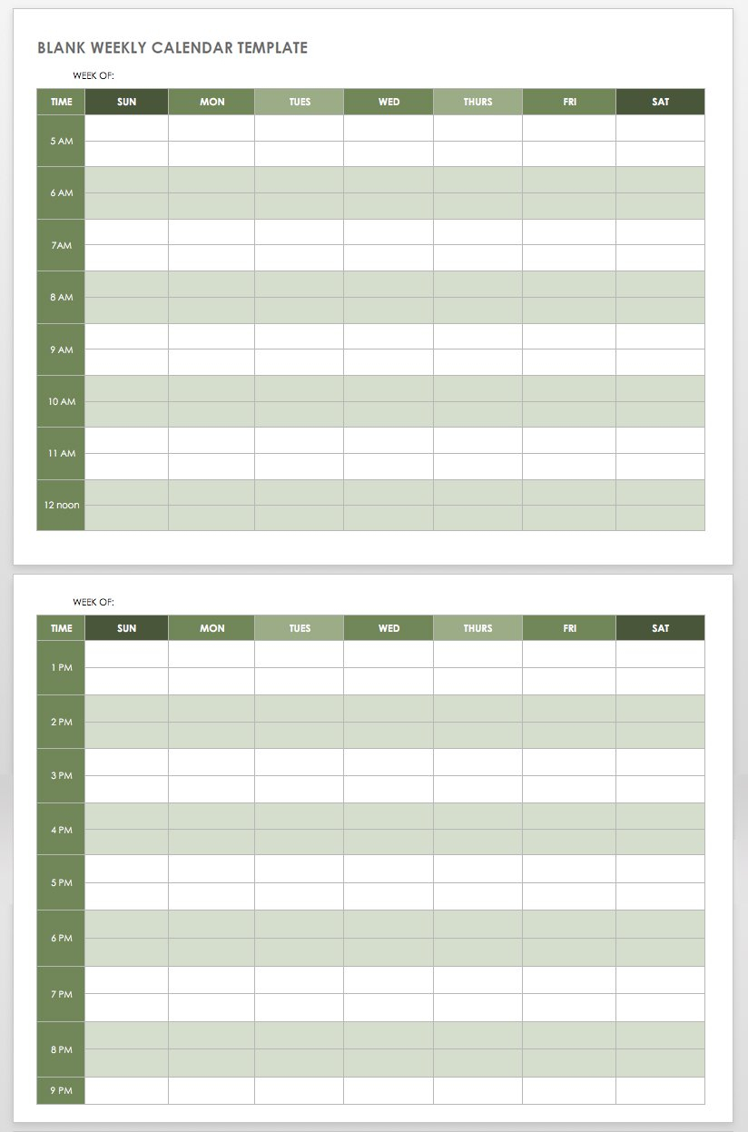 15 Free Weekly Calendar Templates | Smartsheet in Am Pm Calendar Template