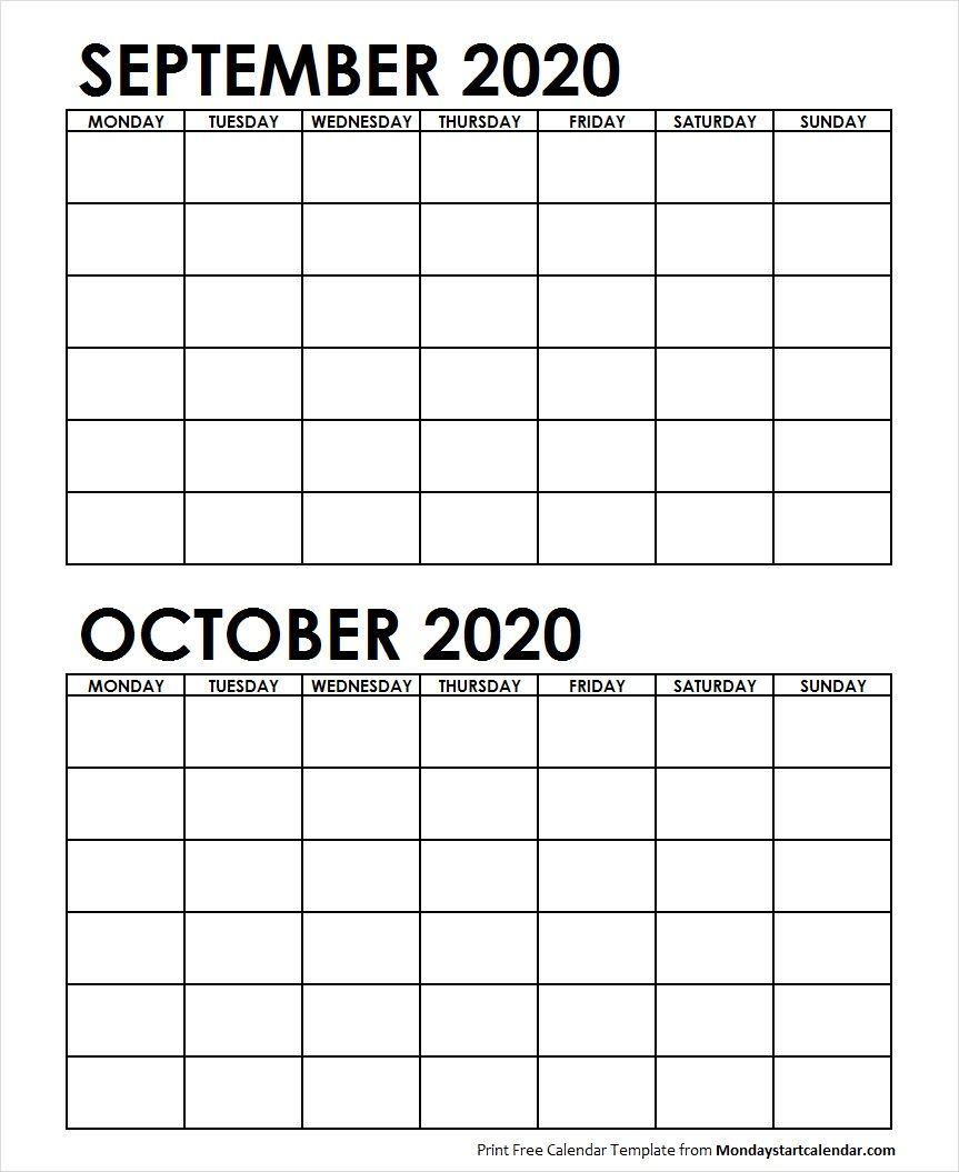 2 Monthly Blank Calendar September October 2020   June in Print 2 Month Calendar
