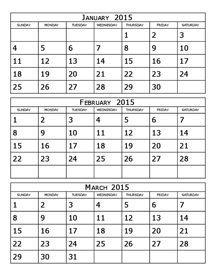 2015 Calendar Three Months Per Page Free Download throughout Calendar Template 3 Months Per Page