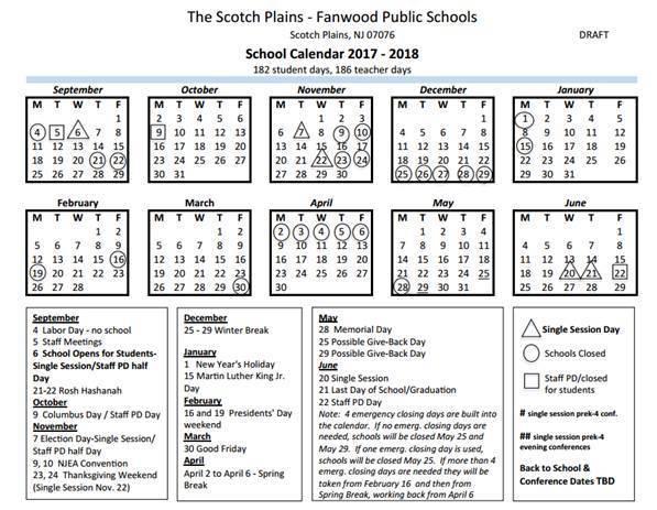 201718 School Calendar Proposed By Boe  Scotch Plains regarding Edmond Ok School Calendar