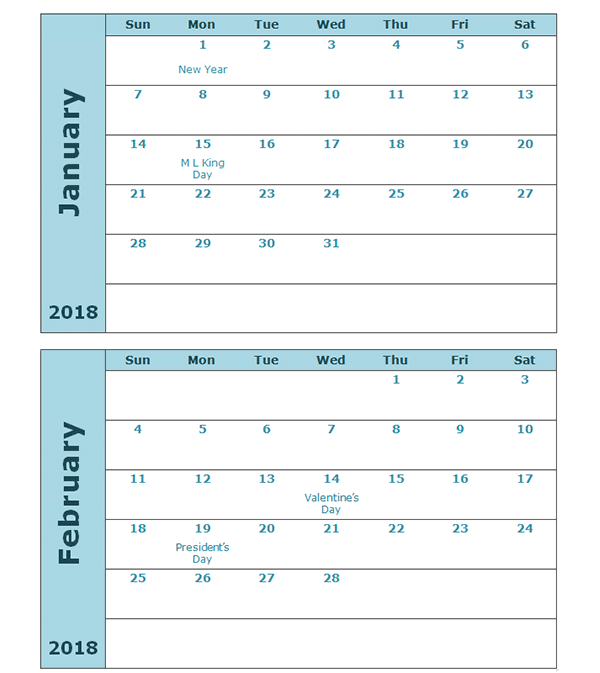 2018 Calendar Template Two Months Per Page  Free with regard to Print 2 Month Calendar