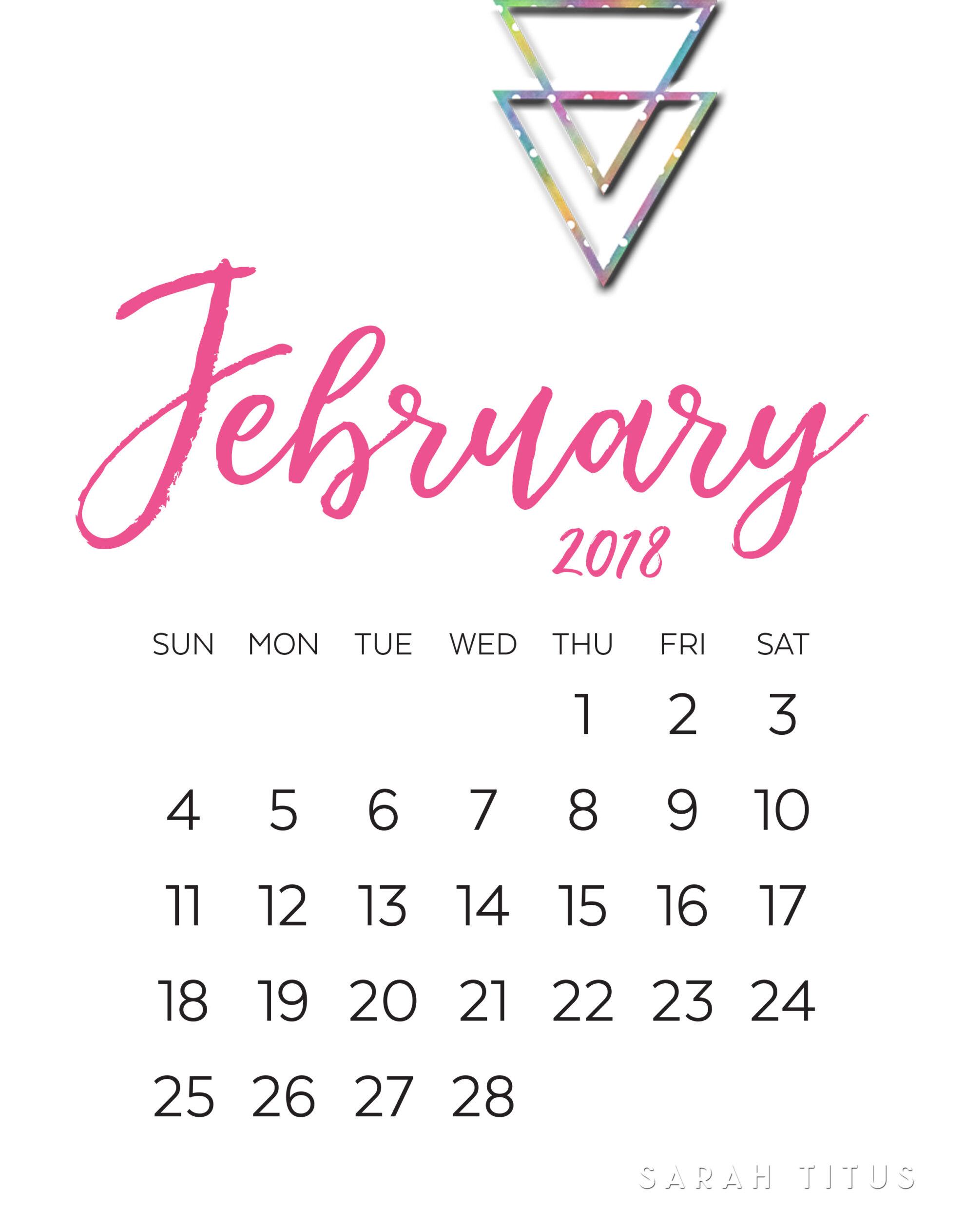 2018 Modern Monthly Calendars Printables  Sarah Titus regarding Sarah Titus Printables