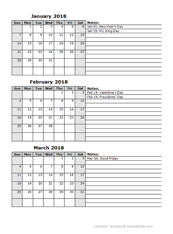 2018 Three Month Calendar Template   Free Printable pertaining to 3 Month Calendar Printable