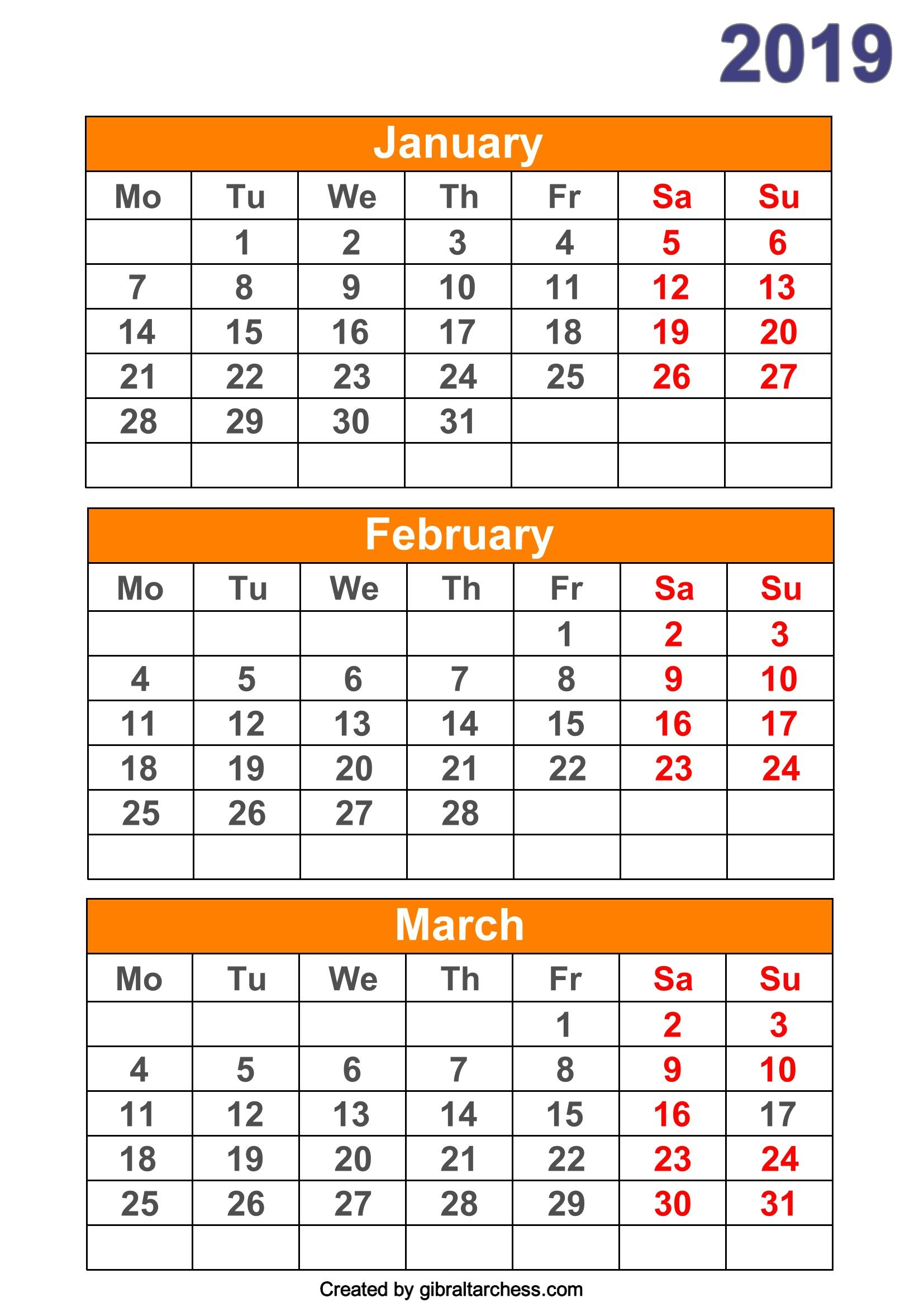 2019 Calendar 4 Months Per Page Printable within Printable 4 Month Calendar