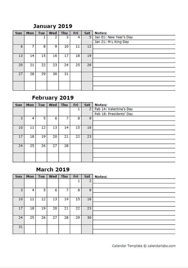 2019 Three Month Calendar Template   Calendar Template with Blank 3 Month Calendar
