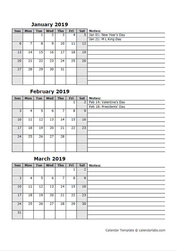 2019 Three Month Calendar Template (With Images) | Blank inside Calendar Template 3 Months Per Page