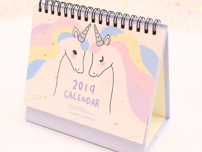 2019 Unicorn Desktop Paper Calendar Daily Scheduler Table with regard to Advice From A Unicorn Desk Calendar