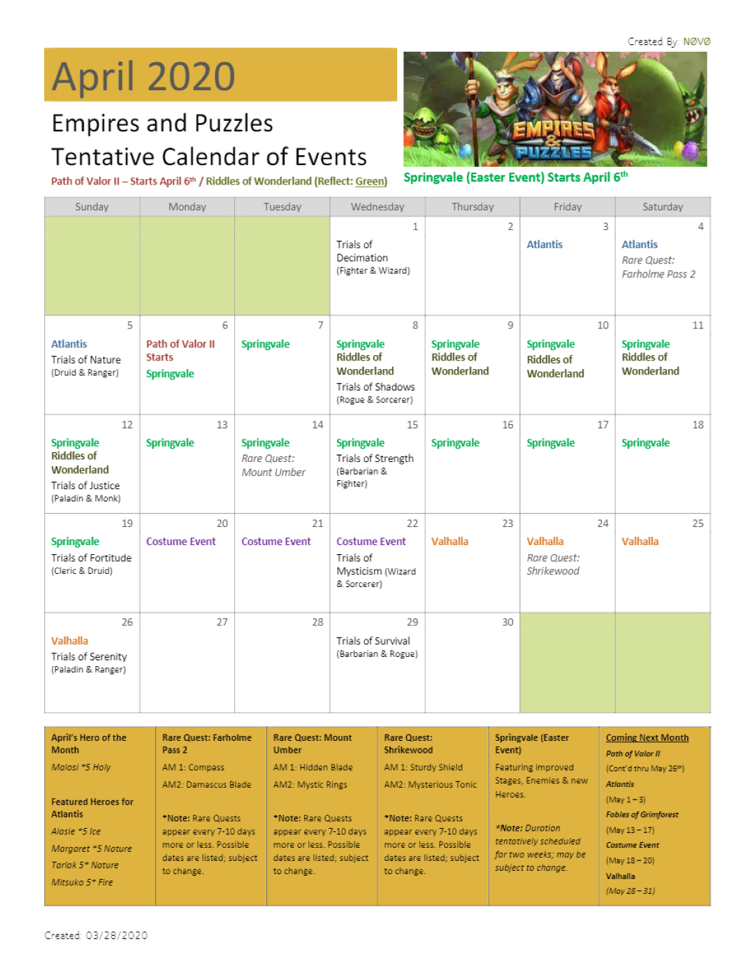 2020 April Calendar Of Events (Dates Are Tentative And May throughout Empire And Puzzles Event Calendar