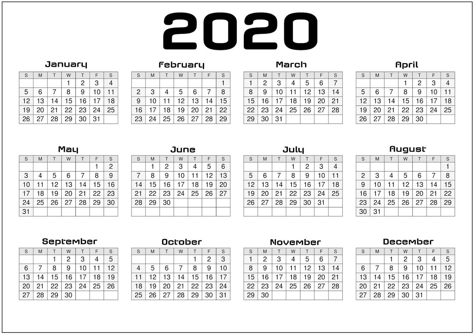 2020 Calendar Labs Template | Example Calendar Printable intended for Printable Blank Calendar Template
