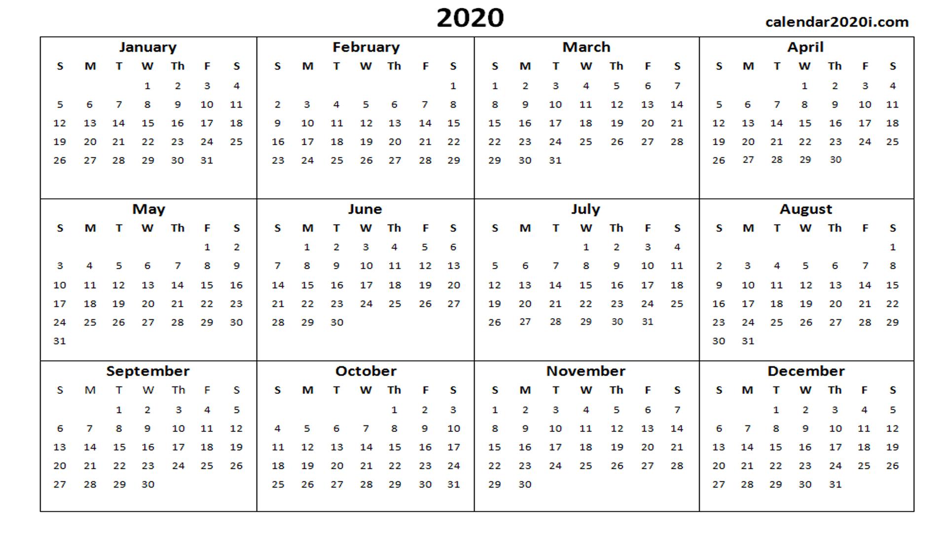2020 Calendar Printable Template Holidays, Word, Excel with regard to Printable Blank Calendar Template