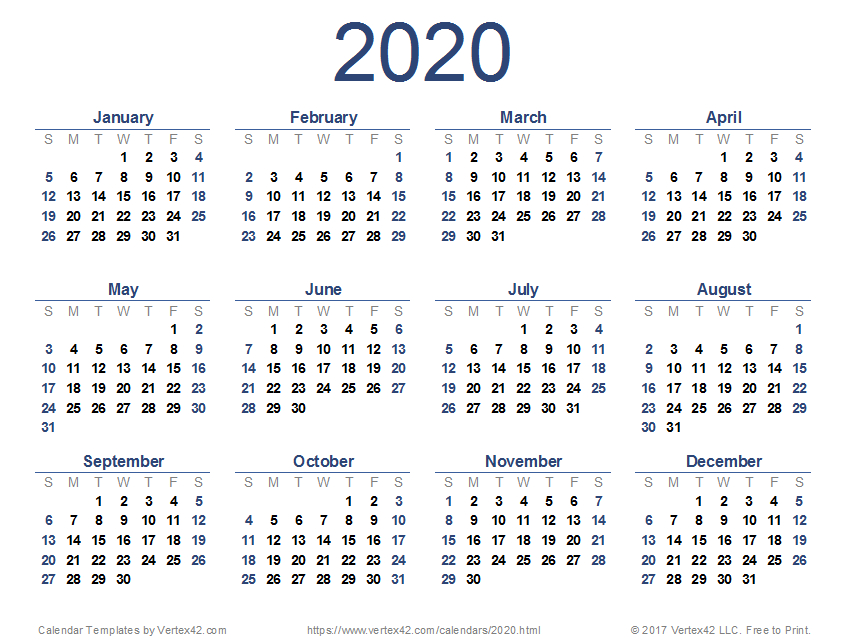 2020 Calendar Templates And Images pertaining to Printable Blank Calendar Template