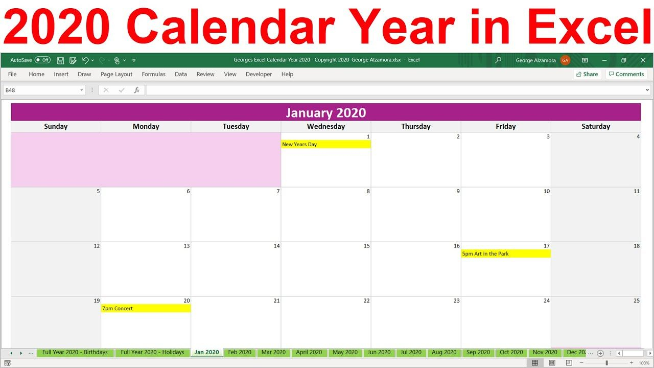 2020 Excel Calendar Template. 2020 Planner Spreadsheet pertaining to Year At A Glance Calendar Template