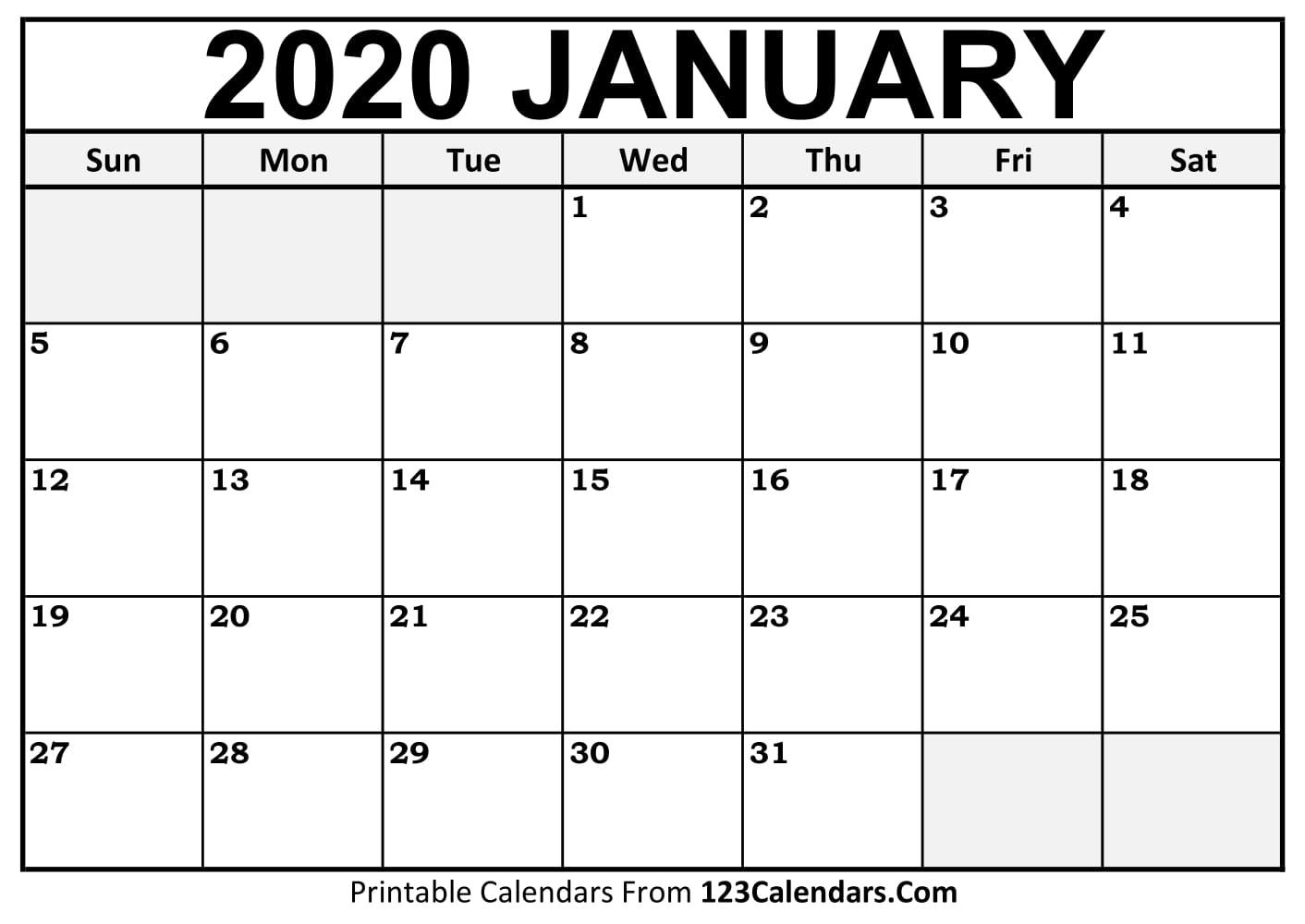 2020 Fill In Calendar  Calendar Inspiration Design with Fill In Calendar