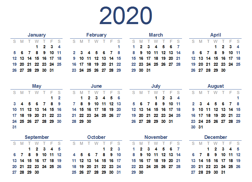 2020 One Page Calendar Printable | Calendar 2020 with regard to Multi Month Calendar Template