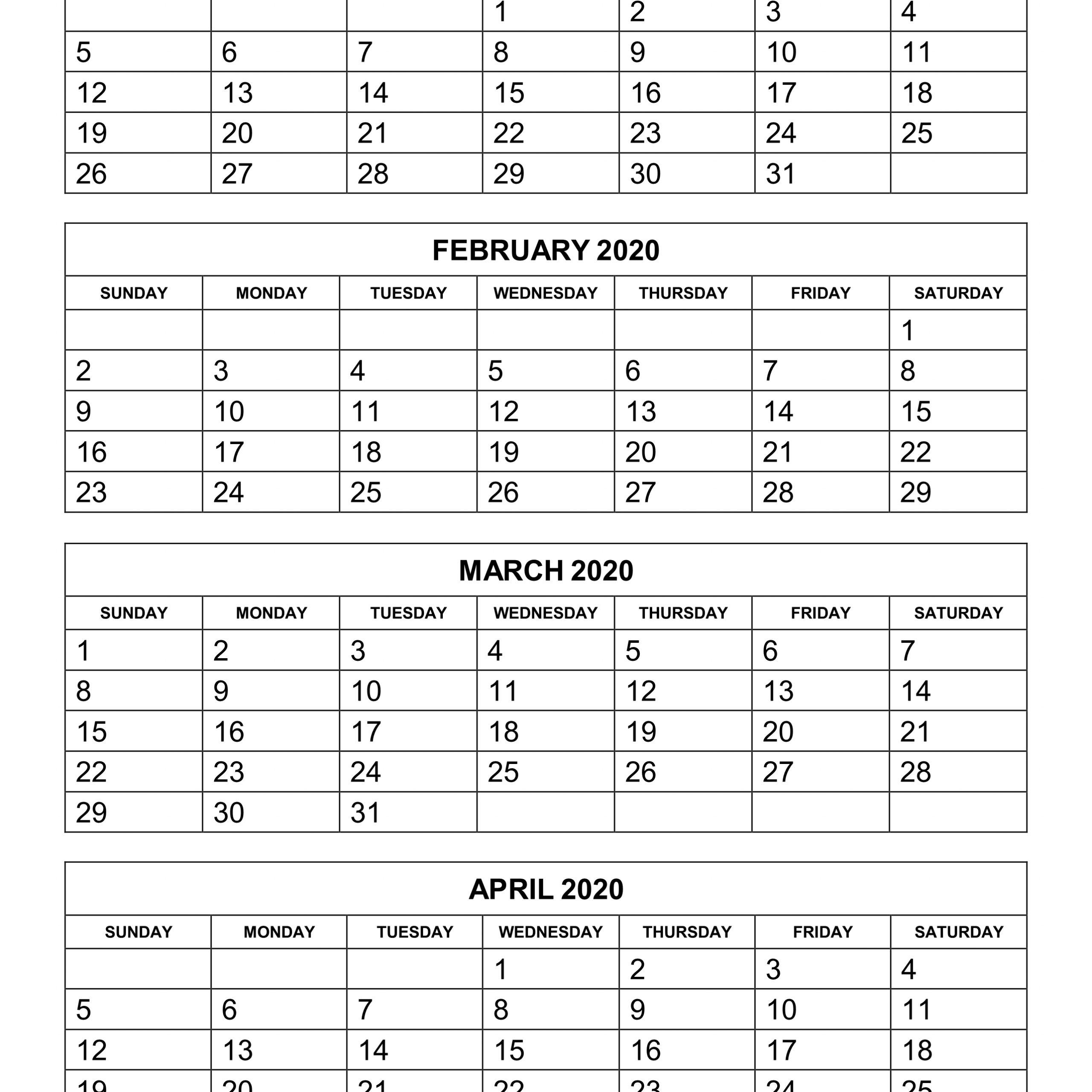 2020 Printable Calendar 3 Months Per Page | Free Printable regarding Printable Three Month Calendar
