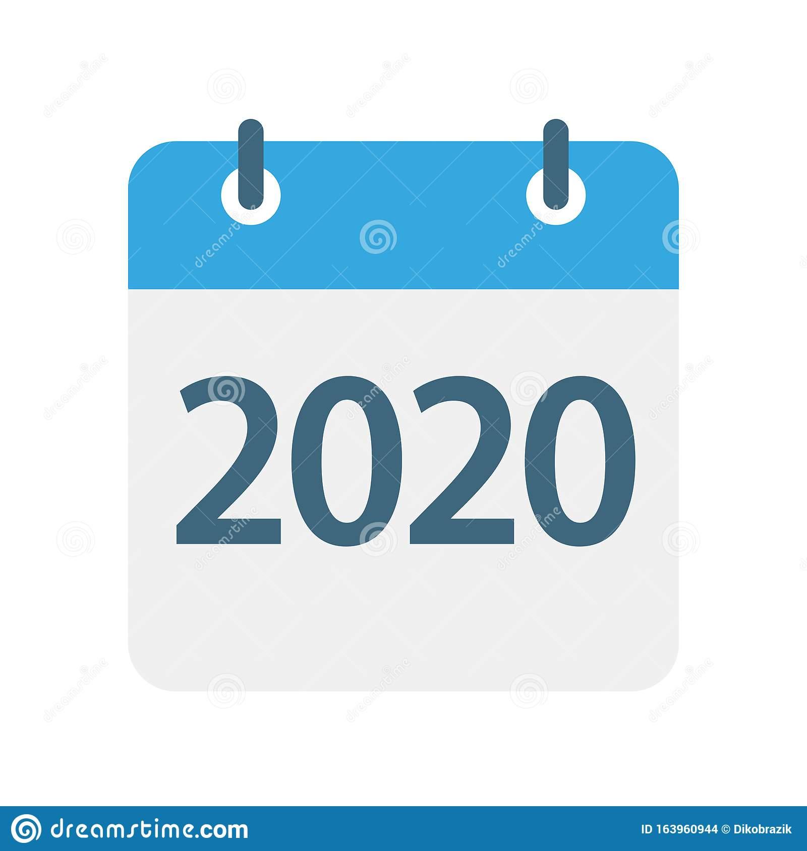 2020 Year  Calendar Leaf Icon. Vector Illustration Stock pertaining to Year Calendar Icon