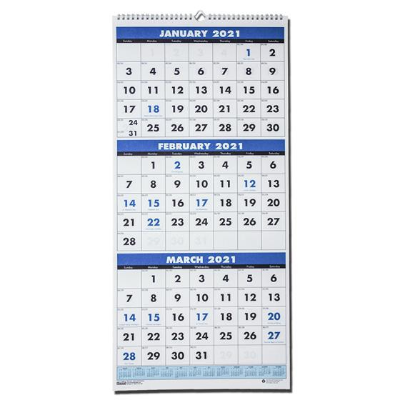 2021 3640 Hod3640 House Of Doolittle 3Month Wall Calendar inside Three Month Printable Calendar 2021