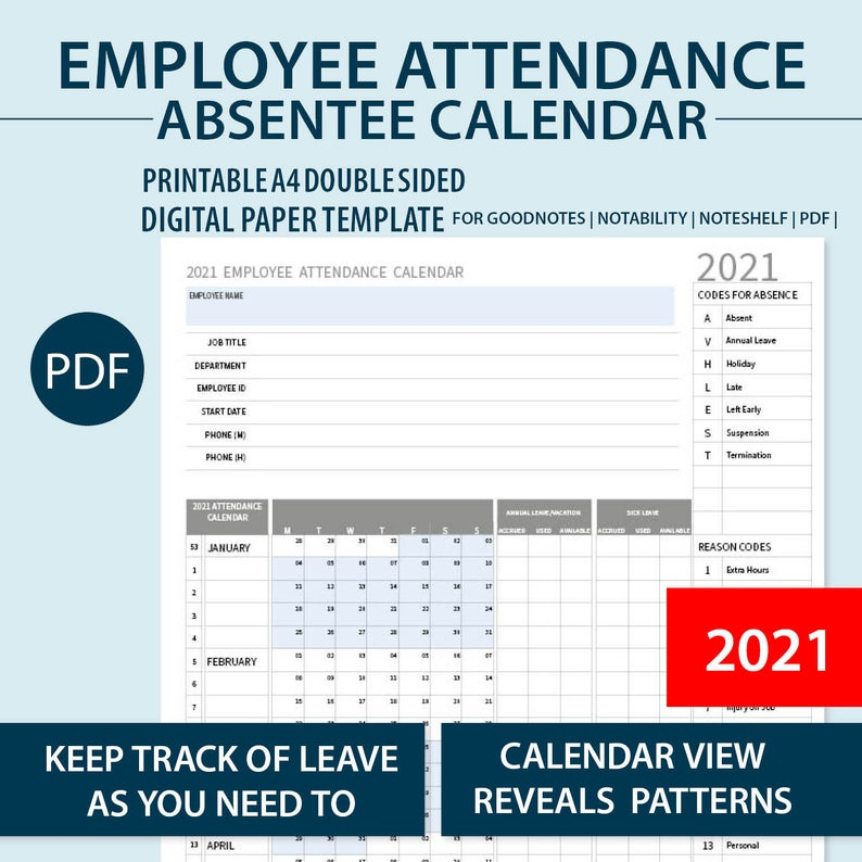 2021 A4 Printable Employee Attendance Absentee   Etsy inside Sick Day Calendar For Employees 2021