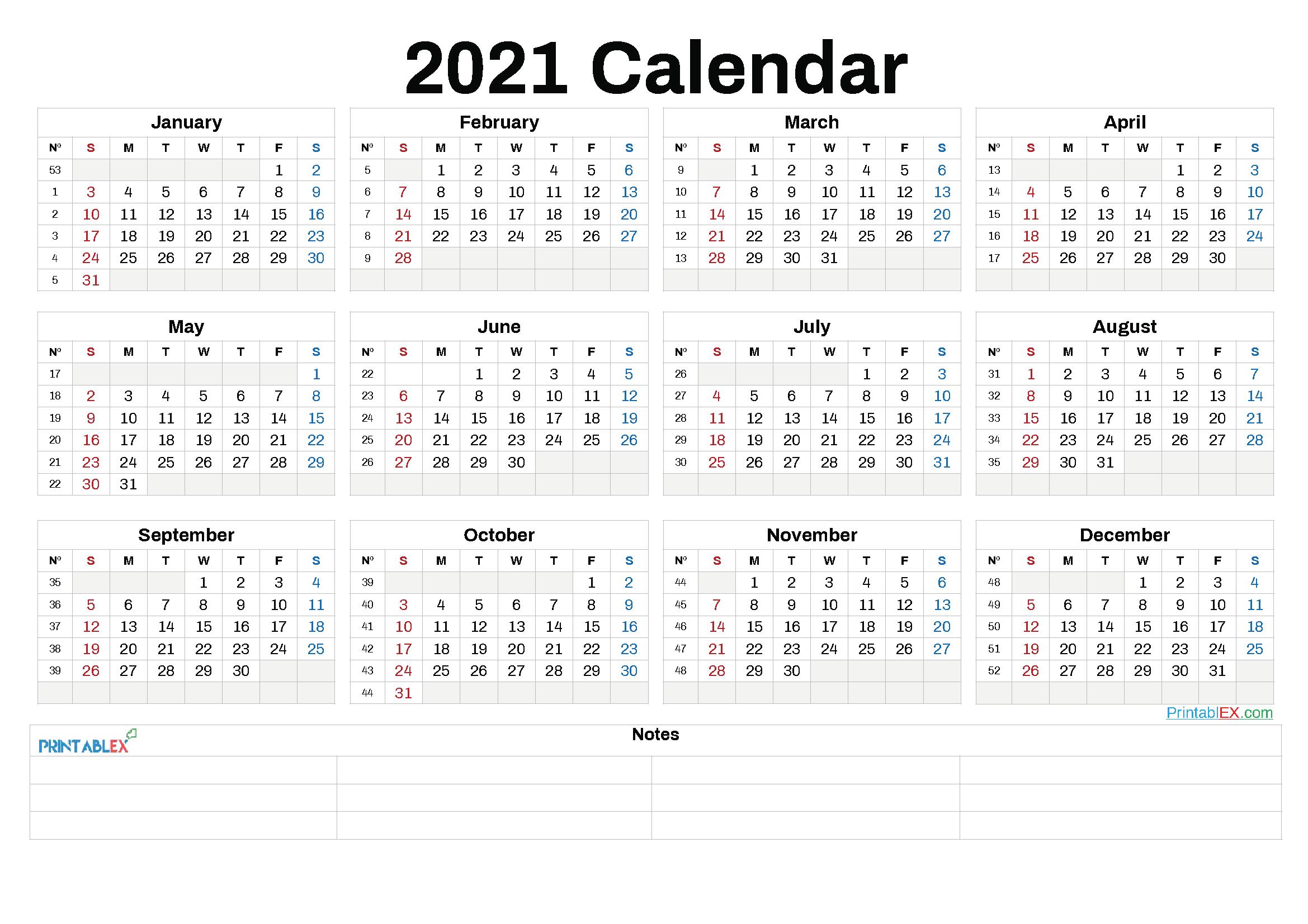 2021 Annual Calendar Printable   2021 Printable Calendars pertaining to 2021 Calendar Free Printable