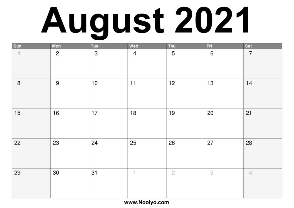 2021 August Calendar Printable  Download Free  Noolyo throughout August 2021 Calendar Print