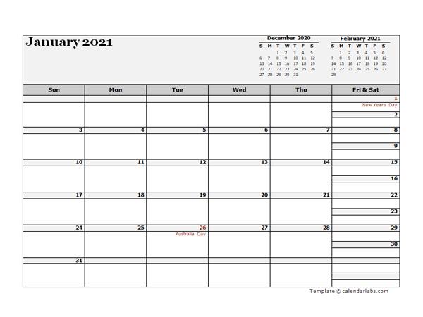 2021 Australia Calendar For Vacation Tracking  Free with regard to 2021 Pto Calendar Template Excel