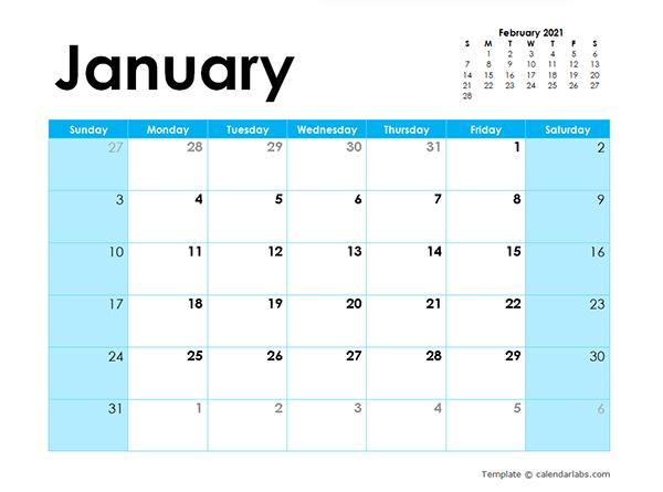 2021 Blank Calendar Colorful Design  Free Printable Templates with Desktop Calendars 2021 Free Printable