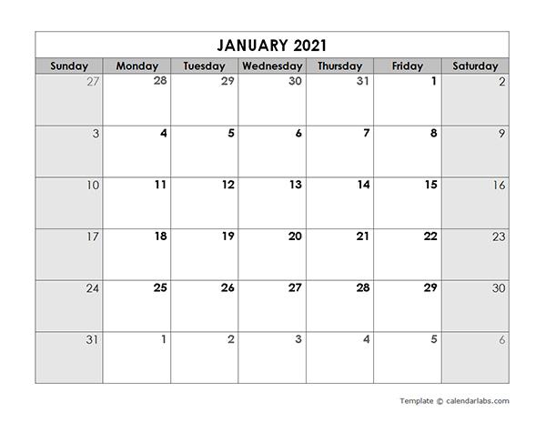 2021 Blank Monthly Calendar  Free Printable Templates throughout Blank Monthly Calendar 2021