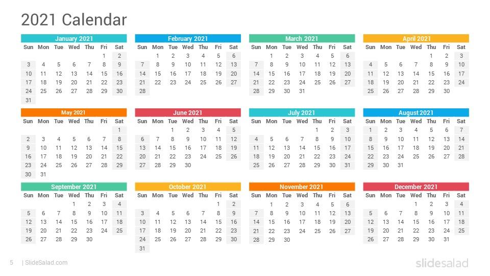 2021 Calendar Google Slides Template Designs  Slidesalad with regard to Google Printable Monthly Calendar 2021