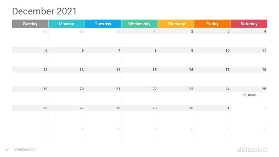 2021 Calendar Google Slides Template Designs  Slidesalad within Google Printable Monthly Calendar 2021